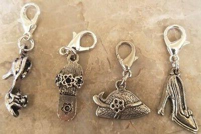 4pc hat and shoes zipper pull charm