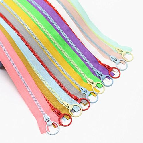 YaHoGa 20PCS 8 5# Resin Zippers with Lifting Ring Close End Vislon for Bags