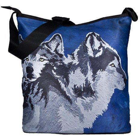 Wolf Large Cross Body Bag - Wearable Art, From My Original P