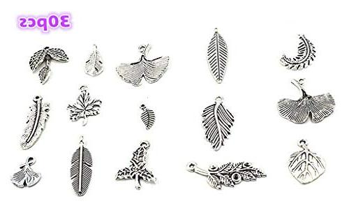 assorted feather tree leaf charms