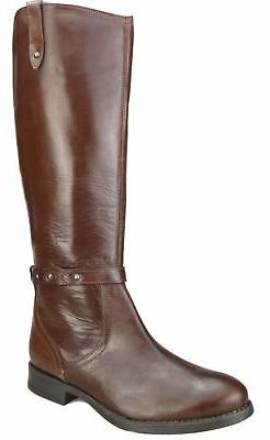Brown Real Leather UK 3 Ladies Womans Pull On Knee High Boot