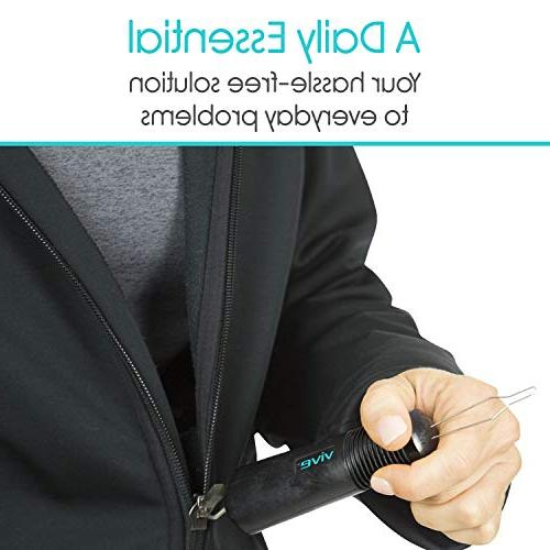 Vive Button - Zipper Dressing Aid Assist Device Tool for Arthritis, Living - Wide Grip - Clothes, Buttoner - Dexterity Puller