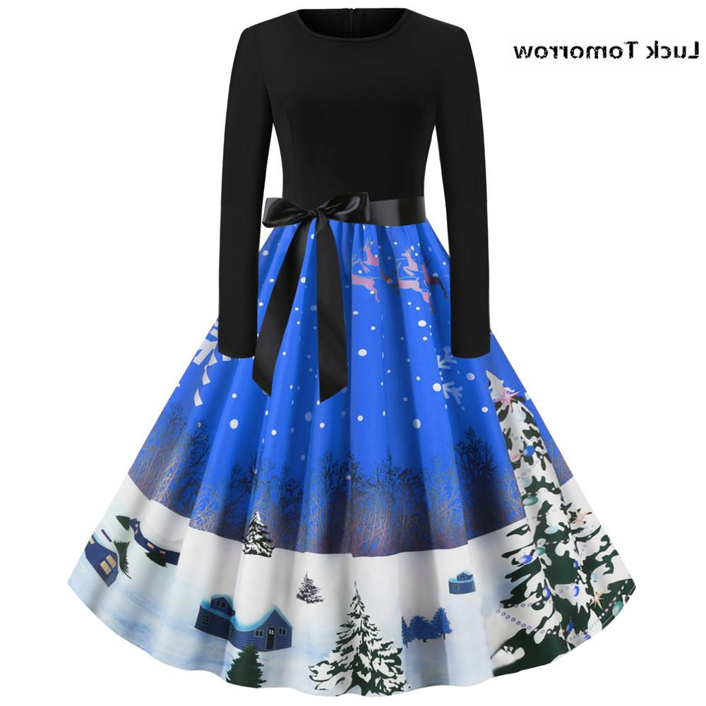 Christmas <font><b>Dress</b></font> Women Fashion Christmas Round Hepburn <font><b>Dress</b></font> 60S <font><b>Pull</b></font> Hiver
