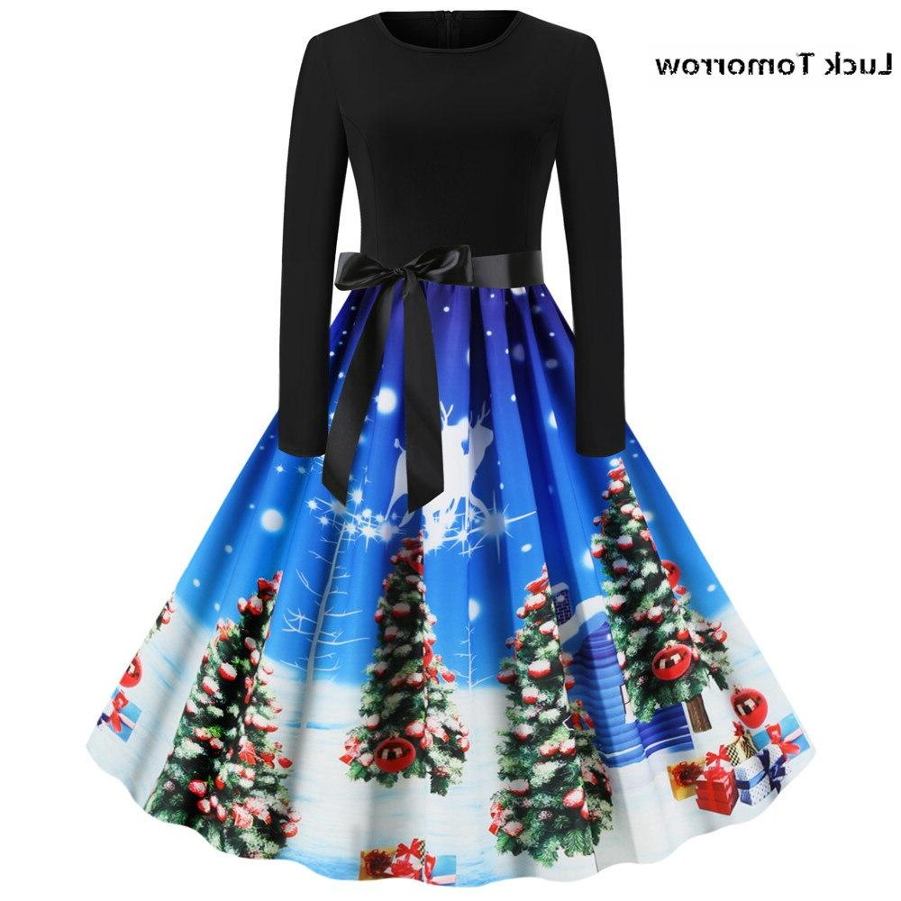 Christmas <font><b>Dress</b></font> Fashion Christmas Print Round <font><b>Zipper</b></font> Hepburn <font><b>Dress</b></font> 60S <font><b>Pull</b></font> Hiver