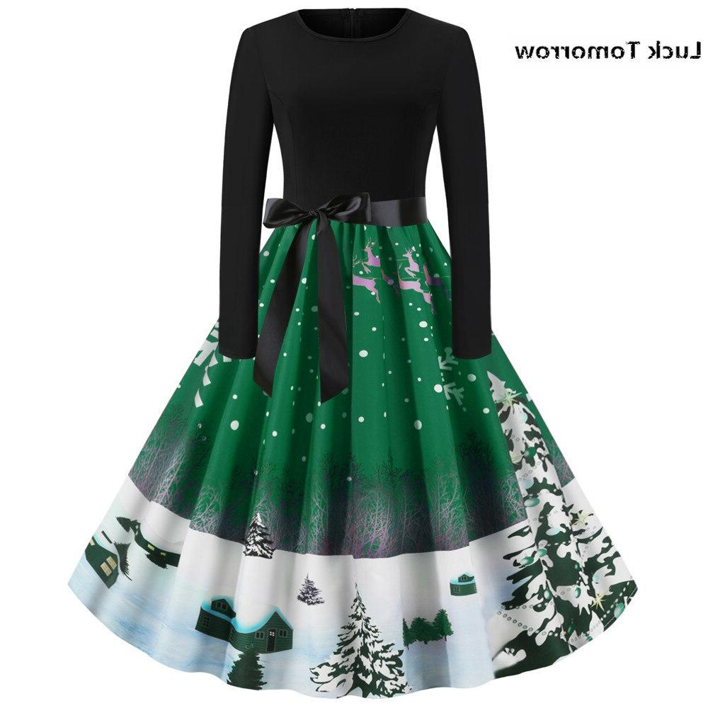 Christmas Women Christmas Tree Print Round Hepburn <font><b>Dress</b></font> 50S 60S Robe Femme Hiver