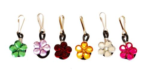 crystal flowers zipper pull charms