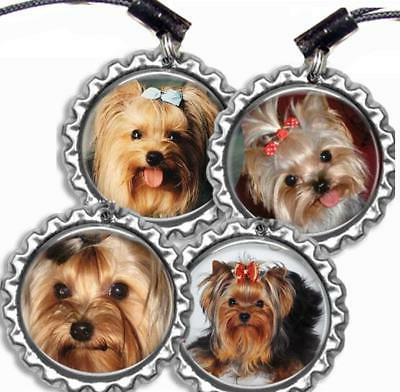cute yorkie bottle cap sports bag tag