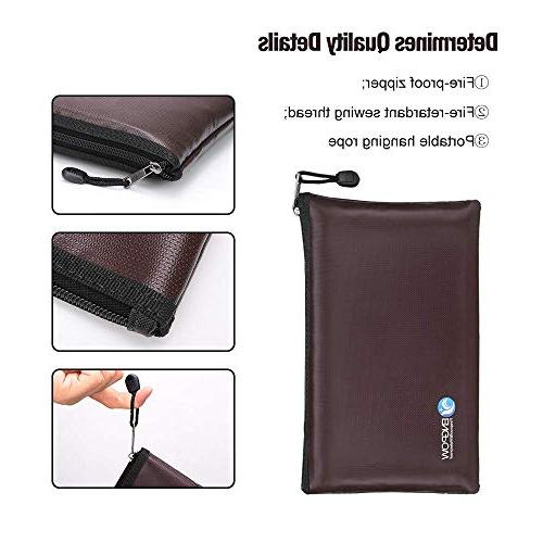 Fireproof Money Bags A5 Size Document Organizer Pouch Non-Itchy Fire Bank Cash 11.5X7.9 inches Dark