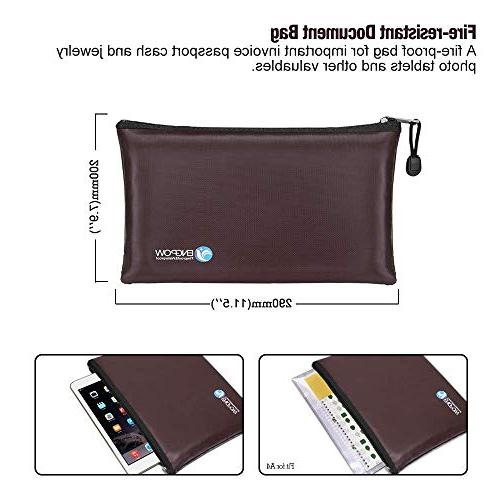 Fireproof Money A5 Zipper Business Document Portable Filing Pouch Fire Water Bank Cash inches
