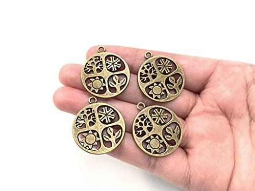 ALIMITOPIA 20pcs Seasons Symbol Hollow-Out Charm for Jewelry