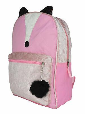 Girls Backpack Quilted Pom Pom Zipper Pull