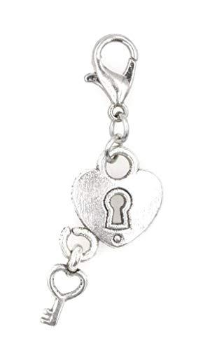 It's All About...You! Heart & Key Stainless Steel Clasp Clip