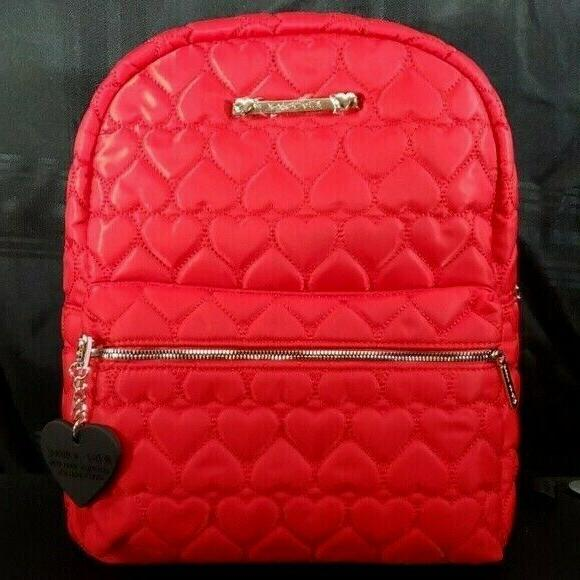 large hearts quilted backpack red