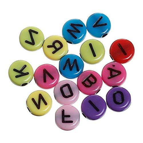 AKOAK Pack Mixed mm Round Colorized Plastic Black Letters/ Cube Beads Key Chains Kid