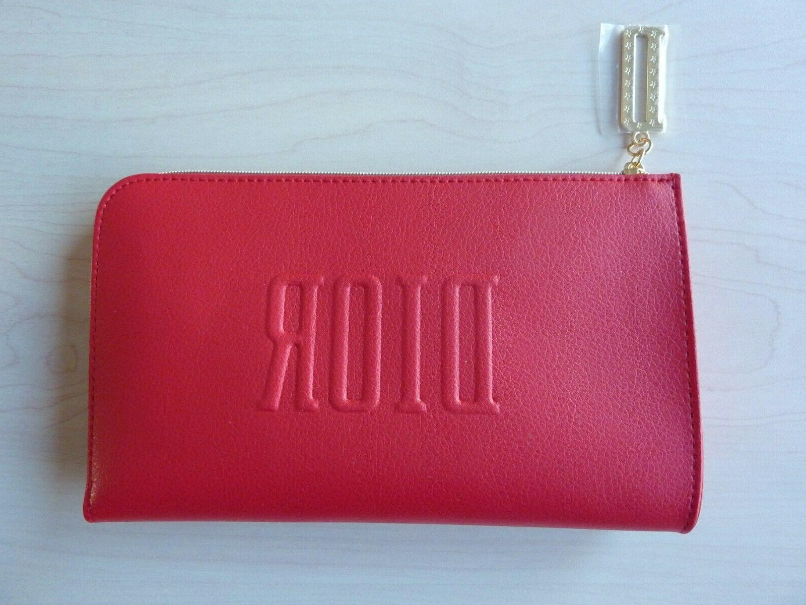 new authentic red cosmetic makeup case bag