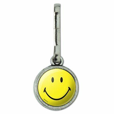 smiley smile happy yellow face charm zipper