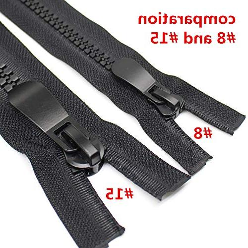 YaHoGa #15 Plastic Zippers for Coat Parka Down Heavy Resin Bulk