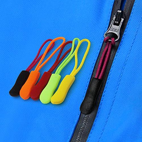 80 Pieces Zipper Extension Pulls, 8 Colors, Nylon Cord Replacement Tag