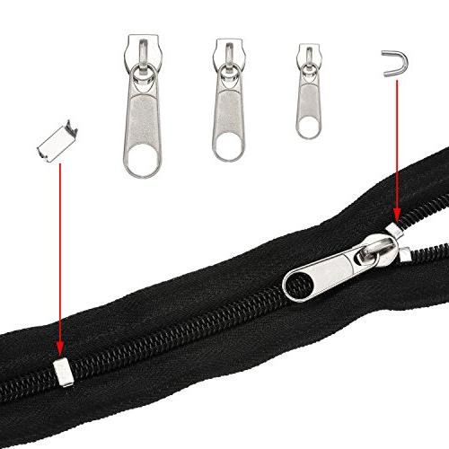 TecUnite 85 Pieces Replacement with Instruction Zipper Silver