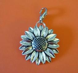 LARGE BEAUTIFUL SUNFLOWER Antique Silver Dangle Charm or Zip