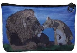 Lions Cosmetic, Lion Zipper Pouch - Support Wildlife Conserv
