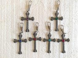 "CROSS with Gem Stone Pewter ZIPPER PULL 1-7/8"" x 1-1/4"" Cho"