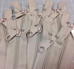 "LOT of 10 Long Pull Handbag Zippers 18"" Beige #4  Nylon Clos"