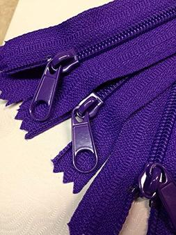 "LOT of 10 Long Pull Handbag Zippers 14"" Purple #4  Nylon Clo"