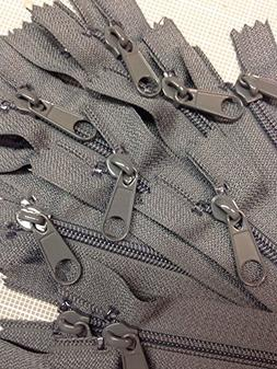 "LOT of 10 Long Pull Handbag Zippers 18"" Slate Gray #4  Nylon"