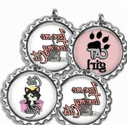 Love Cats Rule Bottle Cap Bag Tag Luggage Id Kids Backpack Z
