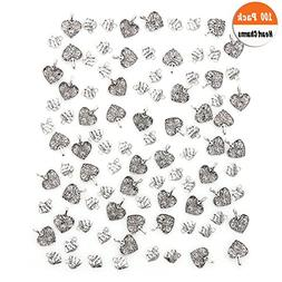 100 Pack Love Heart Charms Pendants, Buytra Heart-Shaped Met