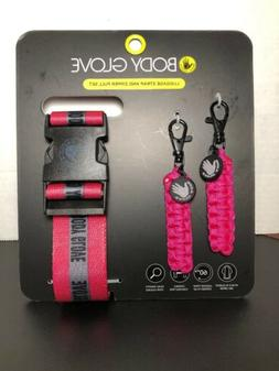 BODY GLOVE Luggage Strap and Zipper Pull Set  PINK/BLACK~ NW