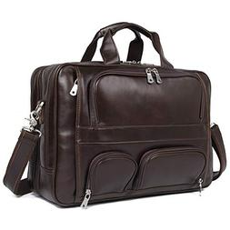 Texbo Men's Genuine Polished Leather Briefcase Laptop Large