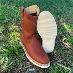 Mens Construction Work Leather Boots Lightweight Pull On Zip