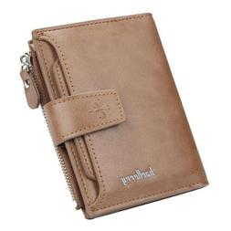 Men's Leather Bifold Wallet  w/ Pull Out Card Holder Billf