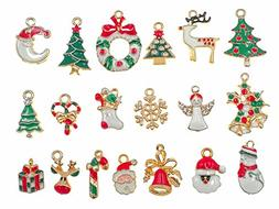 19pcs Mixed Christmas Charm Enamel Gold Toned Rhinestone Inl