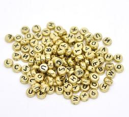 AKOAK Pack of 200 Mixed 4 x 7 mm Round Golden Acrylic Plasti