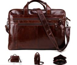 "New Vintage Retro Style Genuine Leather Mens Briefcase 15"" L"