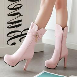 New Women's Round Toe Platform High Heel Pull On Mid Calf Bo