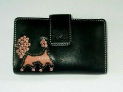 New Womens Black Leather Trifold Wallet Coral Color Poodle D