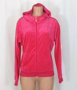 NWOT Juicy Couture Large Bright Pink Zipper Front Hoodie Cry