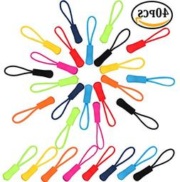 40 Pieces Nylon Zipper Pull Cord Zipper Extension Zipper Tag