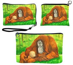 Orangutan Gift Set- Coin Purse, Wristlet and Cosmetic Bag -