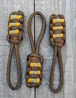 "Pack of Three 3 1/2"" Paracord Zipper Pull"