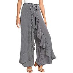 POQOQ Pants Casual Long Trousers Women Ladies Striped Wide L