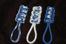 paracord zipper pull -blue mountain blue and white
