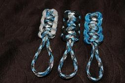 paracord zipper pull - sky dive, blue, gray, and black