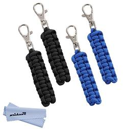 Techion 4 Pack Paracord Zipper Pulls for Backpacks, Tents, T