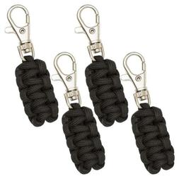 Monkey Armor Paracord Zipper Pulls 4 Pack Black | Metal Hook