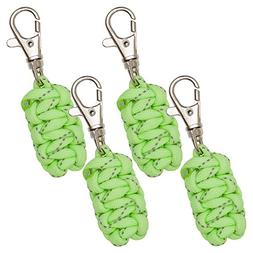 Paracord Zipper Pulls 4 Pack - Glow in the Dark Green | Meta